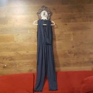 Zara Dark Blue Jumpsuit Bead Detail Flow